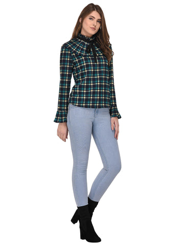 Lozanoo smart multicolor check straight cut shirt top with pleated neck for formal and casual wear.