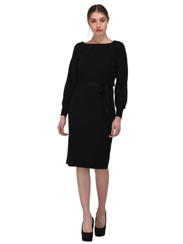 Lozanoo beautiful black winter dress with beautiful sleeves and knotted waist belt