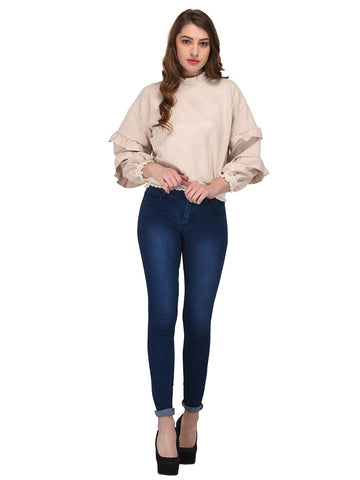 Lozanoo beautiful creamy pullover sweater with stylish baloon sleeves