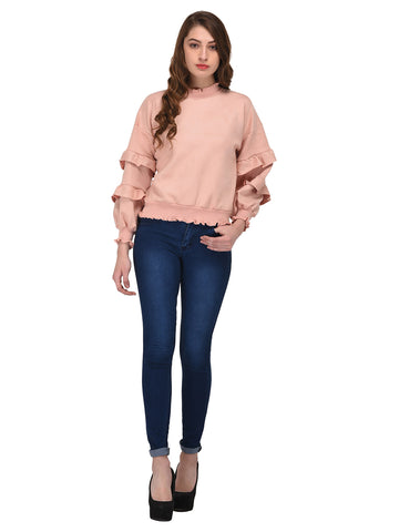 Lozanoo beautiful  mystic pink pullover sweater with stylish baloon sleeves