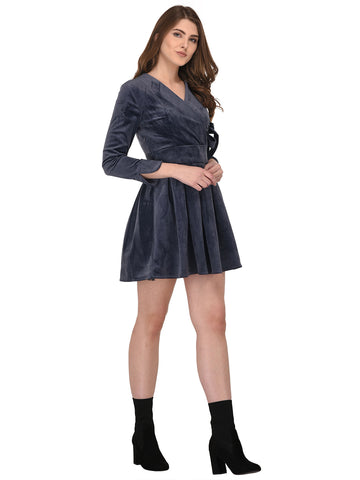 lozanoo velvet Dusky Grey wrap up dress with a knotted waist belt