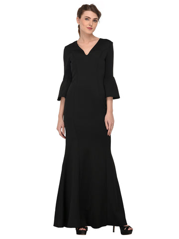 lozanoo beautiful Black women long dress evening gown, cocktail dress with bell sleeves