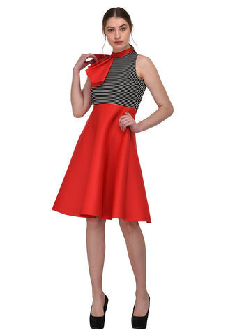 lozanoo Scuba beautiful red dress with one side ruffled shoulder