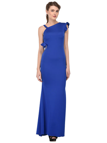 lozanoo beautiful women blue long dress evening gown, cocktail dress with one side ruffled shoulder
