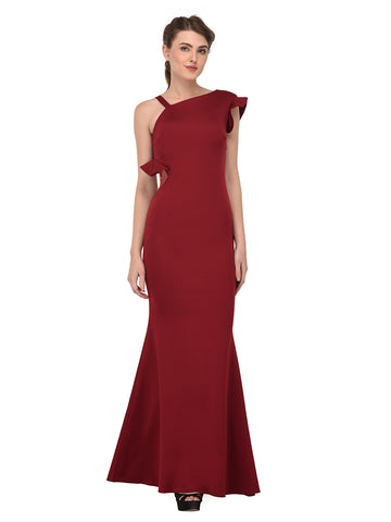 lozanoo beautiful women long dress evening gown, cocktail dress with one side ruffled shoulder