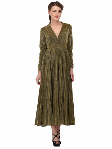 lozanoo shimmery olive Gold wrap up long dress evening gown with knotted waist belt