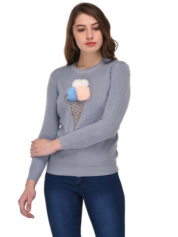 Lozanoo blue pearl beautiful sweater with front soft snowcone design.