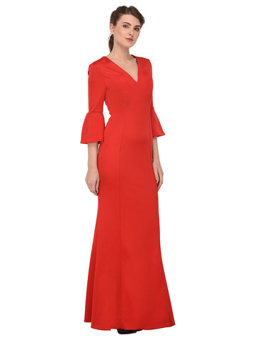 lozanoo beautiful women red long dress evening gown, cocktail dress with bell sleeves