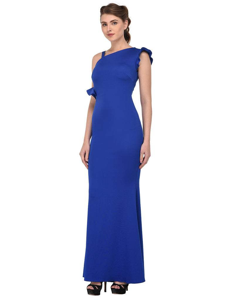 84f0bdb056 lozanoo beautiful women blue long dress evening gown, cocktail dress with  one side ruffled shoulder