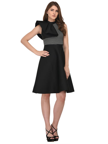 lozanoo Scuba beautiful black dress with one side ruffled shoulder
