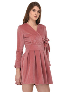 lozanoo velvet French rose pink wrap up dress with a knotted waist belt