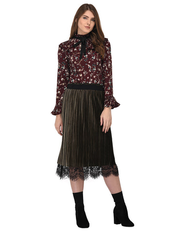 Lozanoo smart floral Maroon straight cut shirt top with pleated neck for formal and casual wear.
