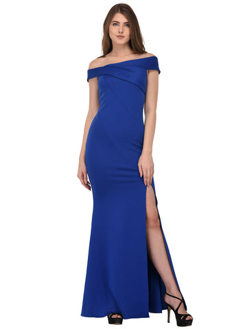 lozanoo beautiful Blue women long dress evening gown, cocktail dress with boat neck