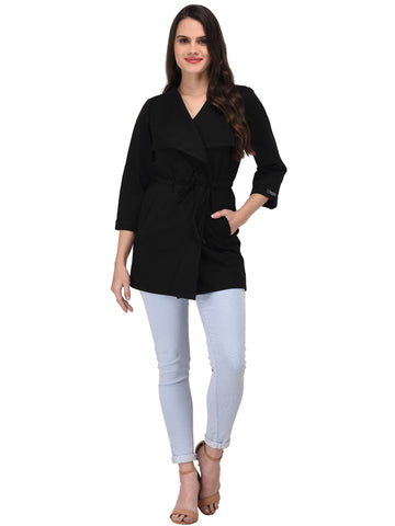 Lozanoo smart black coat with an adjustable knot