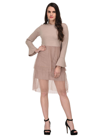 lozanoo Smart creamy oyster knitted dress with turtle neck sweater and highlighting net underneath-2 pieces.