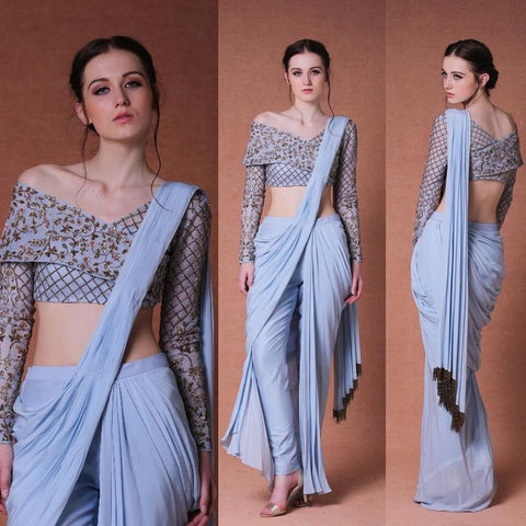 Drape Pleated with attached Pant and Blouse.