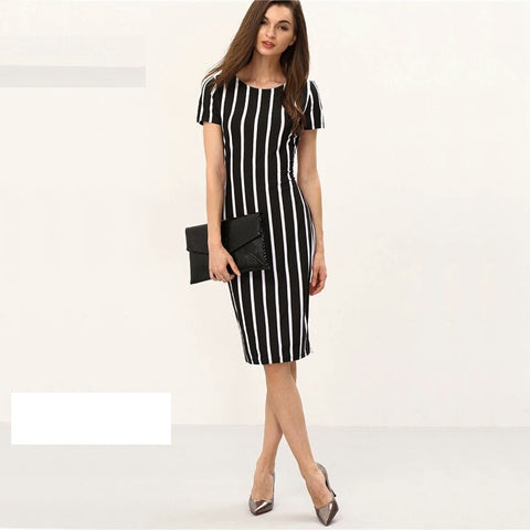 Lozanoo smart striped black dress