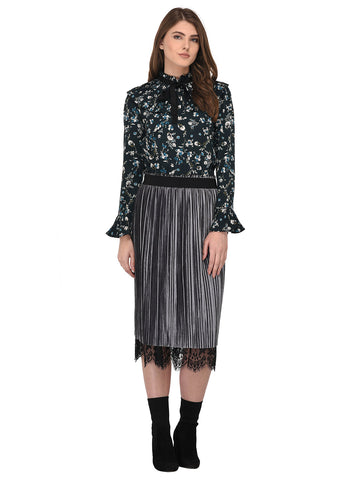 Lozanoo smart Black floral straight cut shirt top with pleated neck for formal and casual wear.
