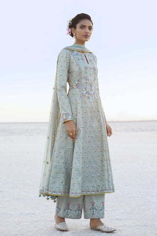 Complete Party attire with detailing - A-Line heavy Kurti and pakistani pant