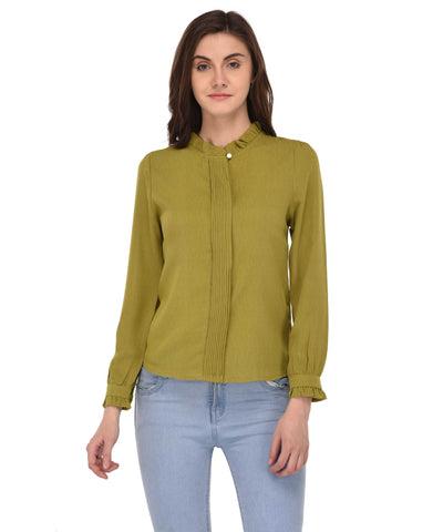 Lozanoo smart olive green shirt top with styled neck and sleeves