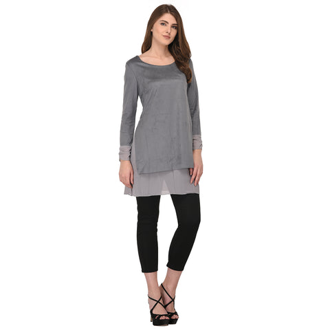 Lozanoo Gray Smart kurta top