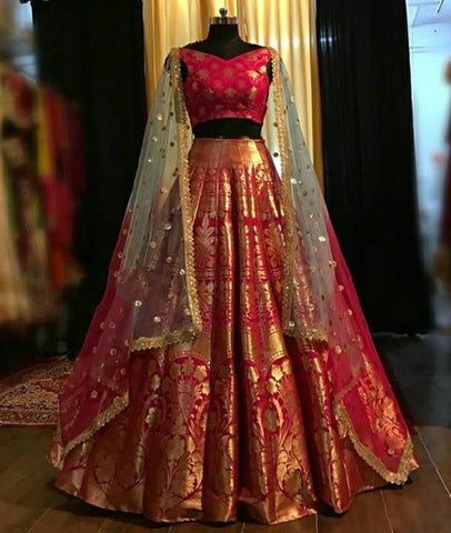 Complete wedding Party attire with detailing -Bridal Lehenga,Blouse with Duppata