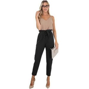 Lozanoo trendy black pant with knotted waist belt