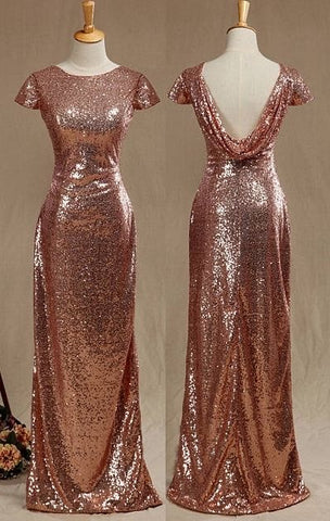 GOLD-COPPER TINT SEQUIN LONG DRESS GOWN