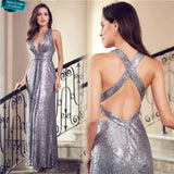 Sequin Royal Silver Evening Gown Prom Dress