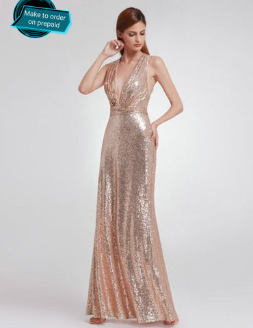 Sequin rose gold Evening Gown Prom Dress