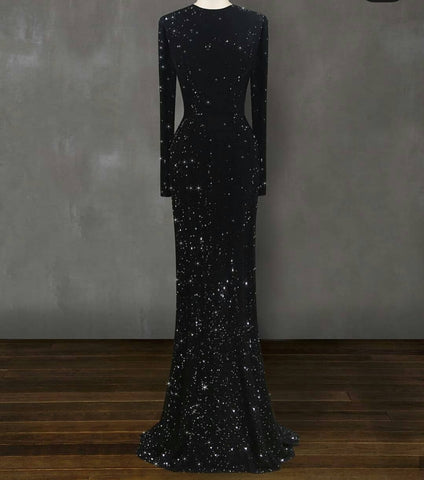 BLACK SEQUINS LONG COCKTAIL DRESS GOWN