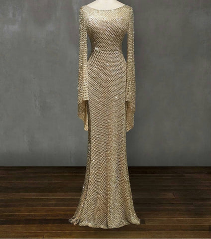 CHAMPASNE GOLD LONG EVENING DRESS GOWN