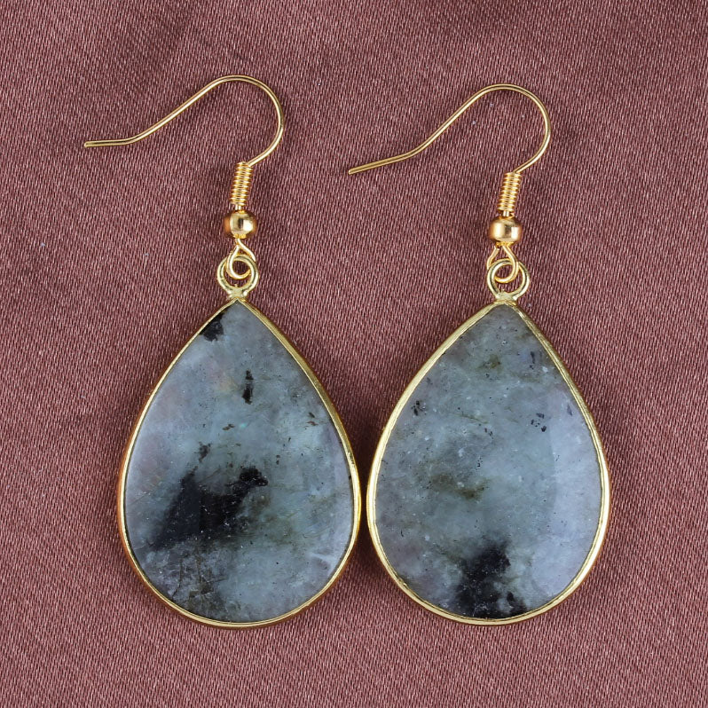 Tear Drop Grey Labradorite  Earrings