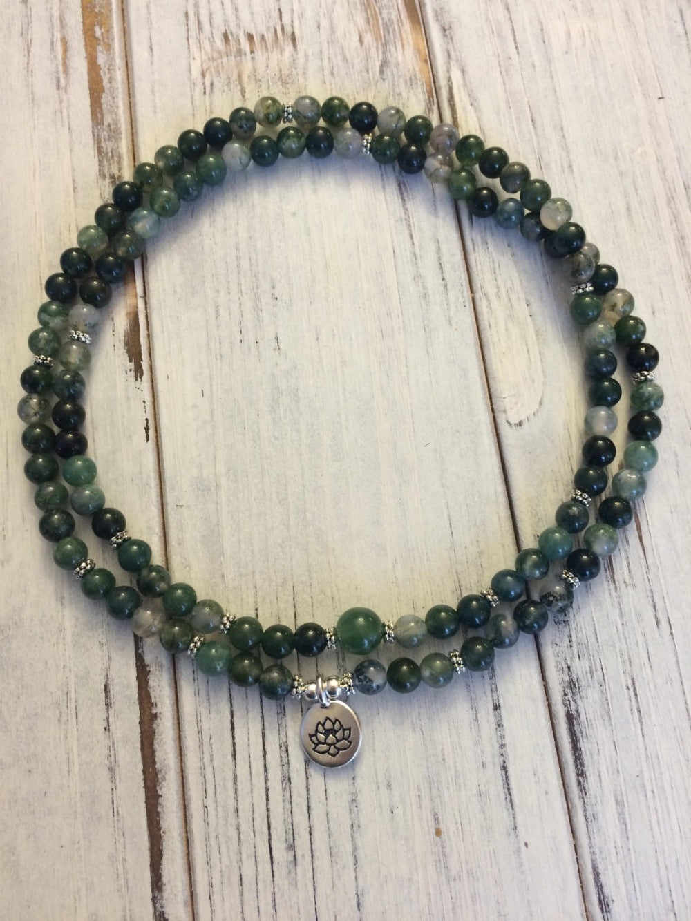 Green Moss Agate Mala Meditation Bracelet/Necklace