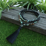 African Turquoise And Onyx Mala Necklace