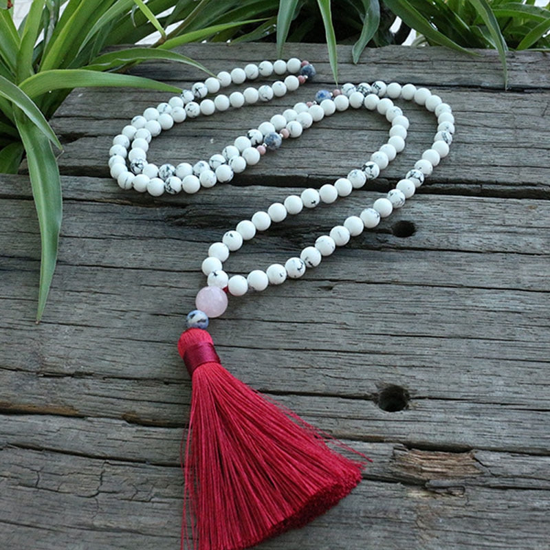 Howlite Beaded Mala Necklace