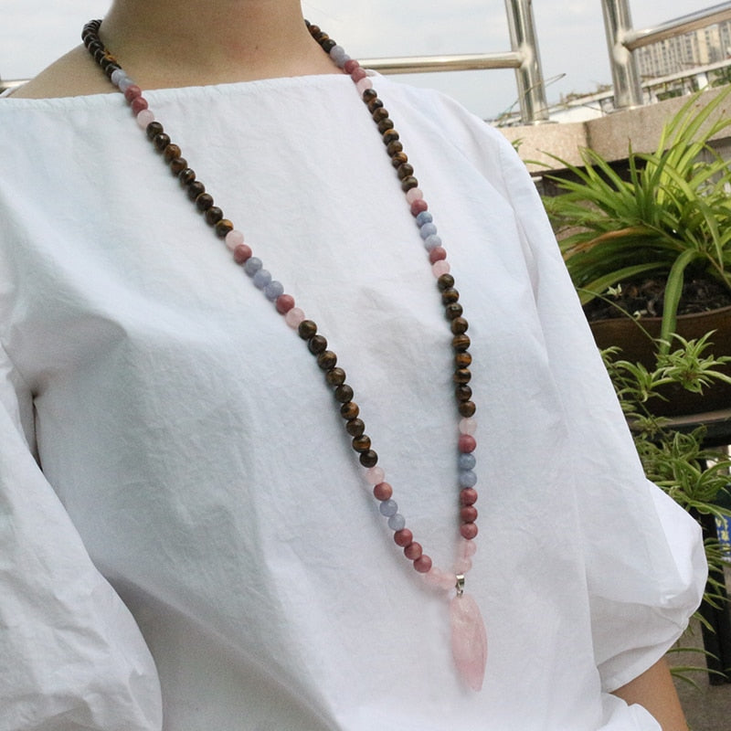Tiger's Eye And Rhodochrosite Mala Necklace