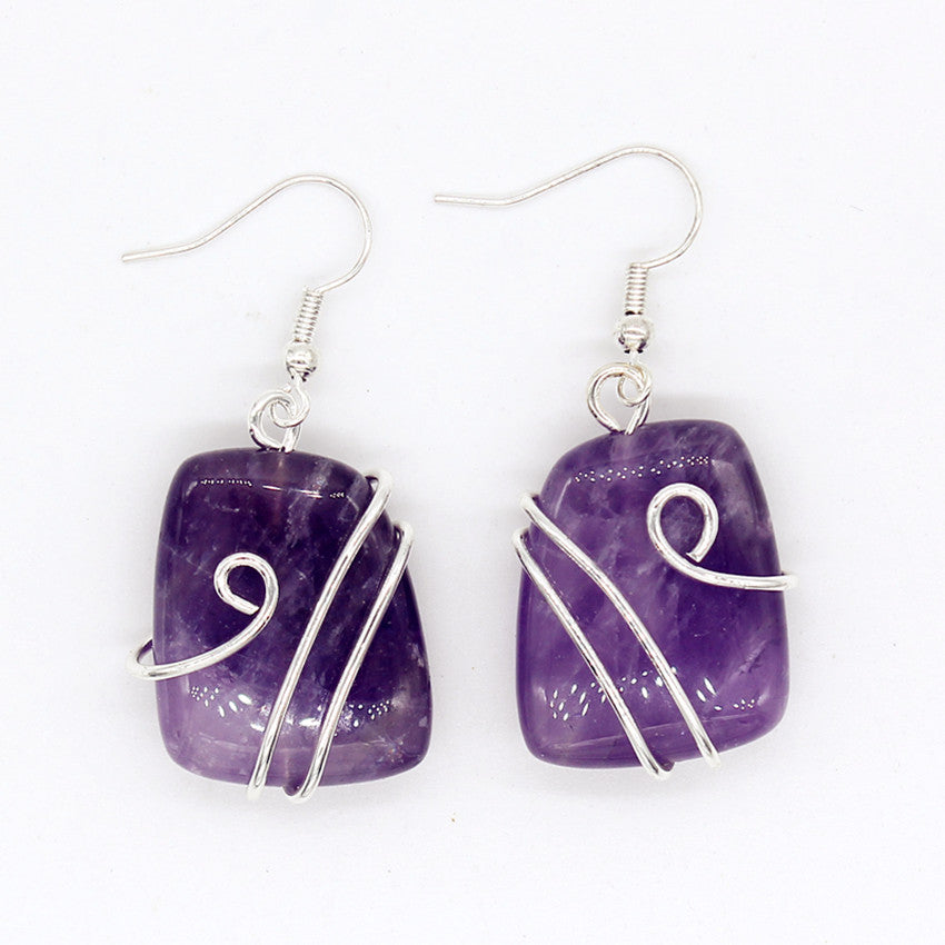 Unique Silver Plated Wire Wrap Irregular Shape Natural Amethyst Earrings