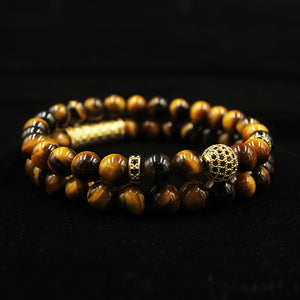 2Pc Set of Luxury Natural Tiger Eye Stone Bracelet