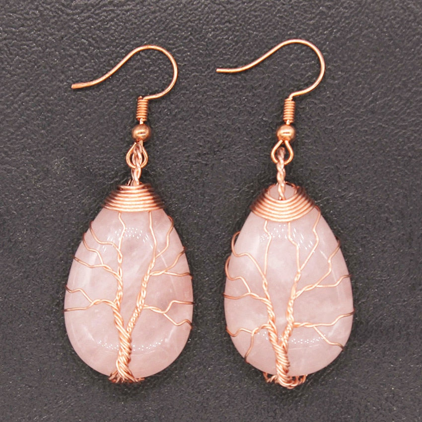 Natural Rose Quartz Wire Wrap Water Drop Earrings