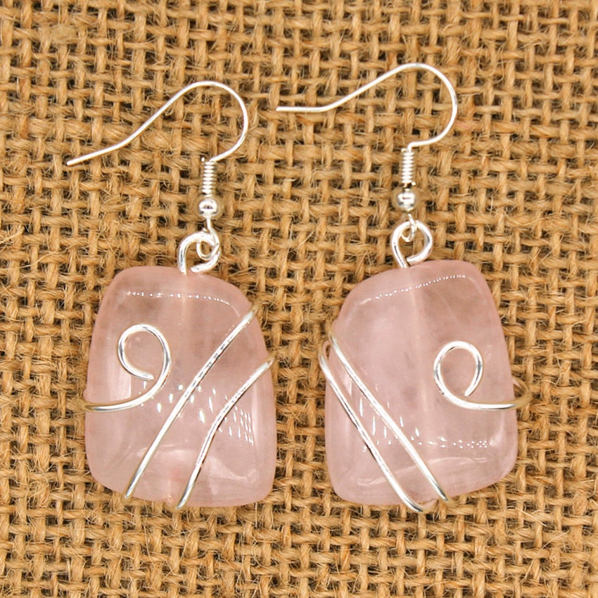 Silver Plated Wire Wrap Irregular Shape Natural Rose Pink Quartz Earrings