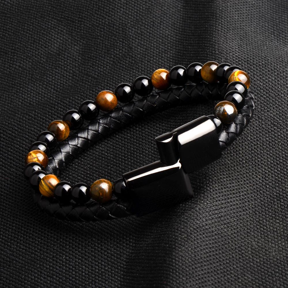Natural Stone w/ Genuine Leather Magnetic Clasp Bracelet