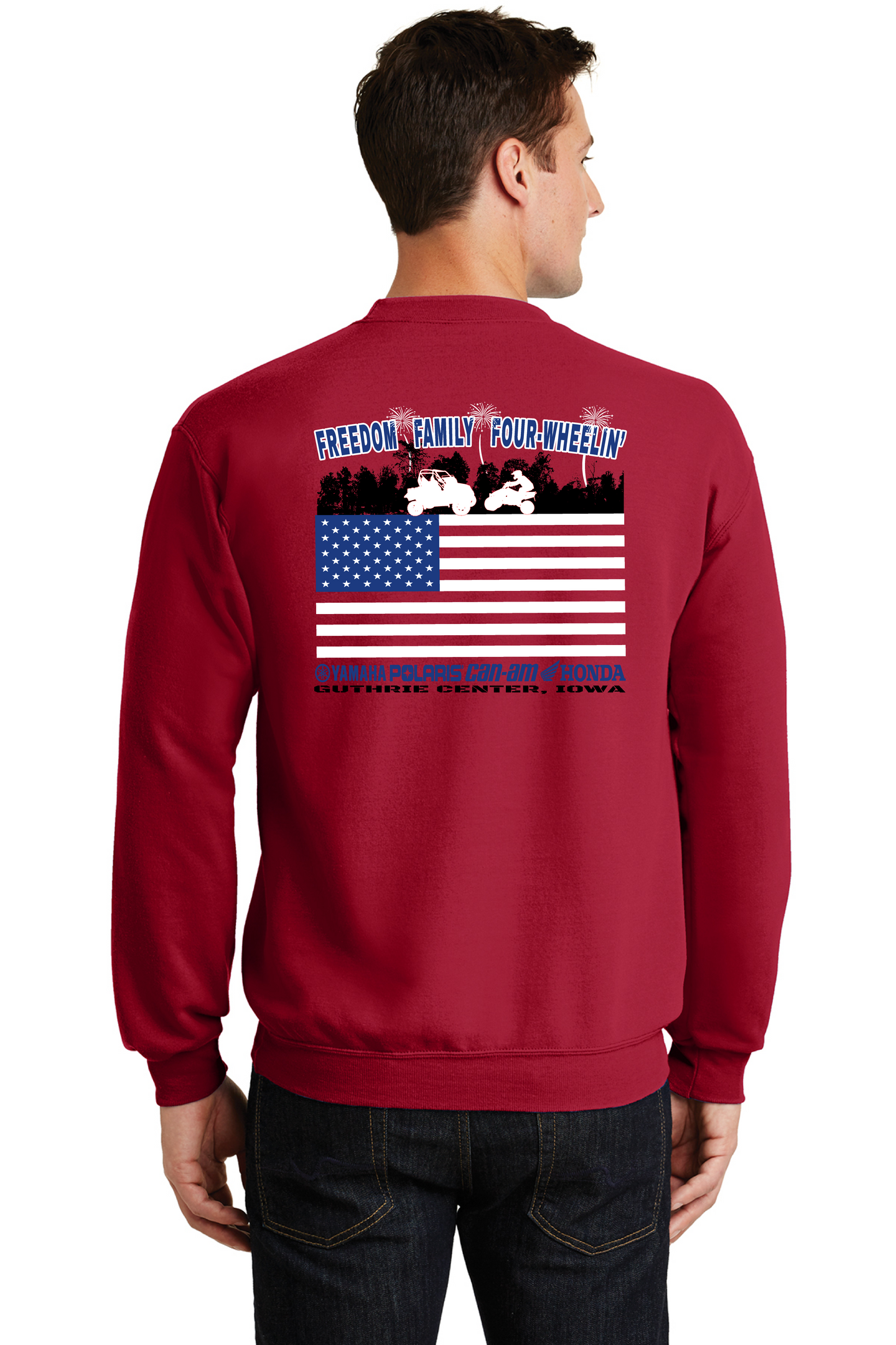 2020 HURRY UP & WAIT-Port & Company® Core Fleece Crewneck Sweatshirt PC78 RED