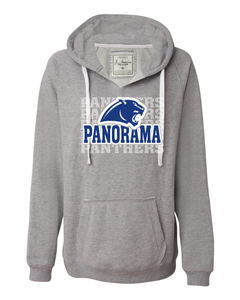 Panorama Boosters-J. America - Women's Sueded V-Neck Hooded Sweatshirt - 8836 Oxford