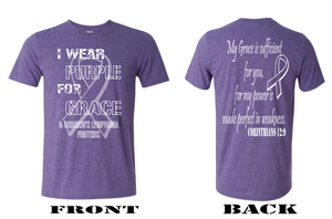 I WEAR PURPLE FOR GRACE-Gildan Softstyle ADULT short sleeve tee-Heather Purple
