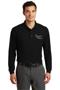 HOSPICE OF THE MIDWEST-Port Authority® Silk Touch™ Long Sleeve Polo with Pocket BLACK