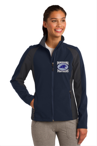 Panorama Boosters-Sport-Tek® Ladies Colorblock Soft Shell Jacket-LST970 NAVY/ IRON GREY