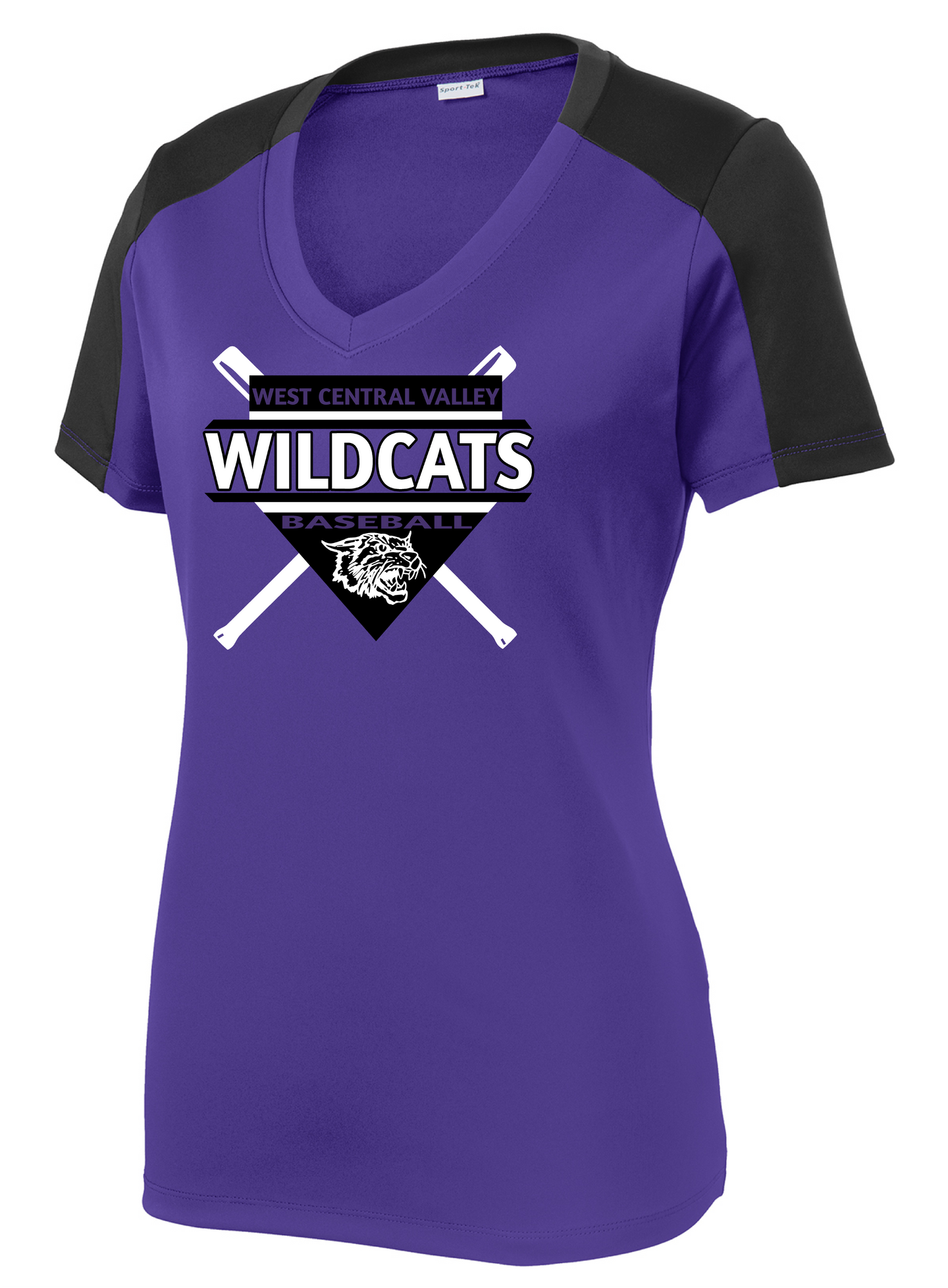 2020 WCV BASEBALL-Sport-Tek® Ladies PosiCharge® Competitor™ Sleeve-Blocked V-Neck Tee