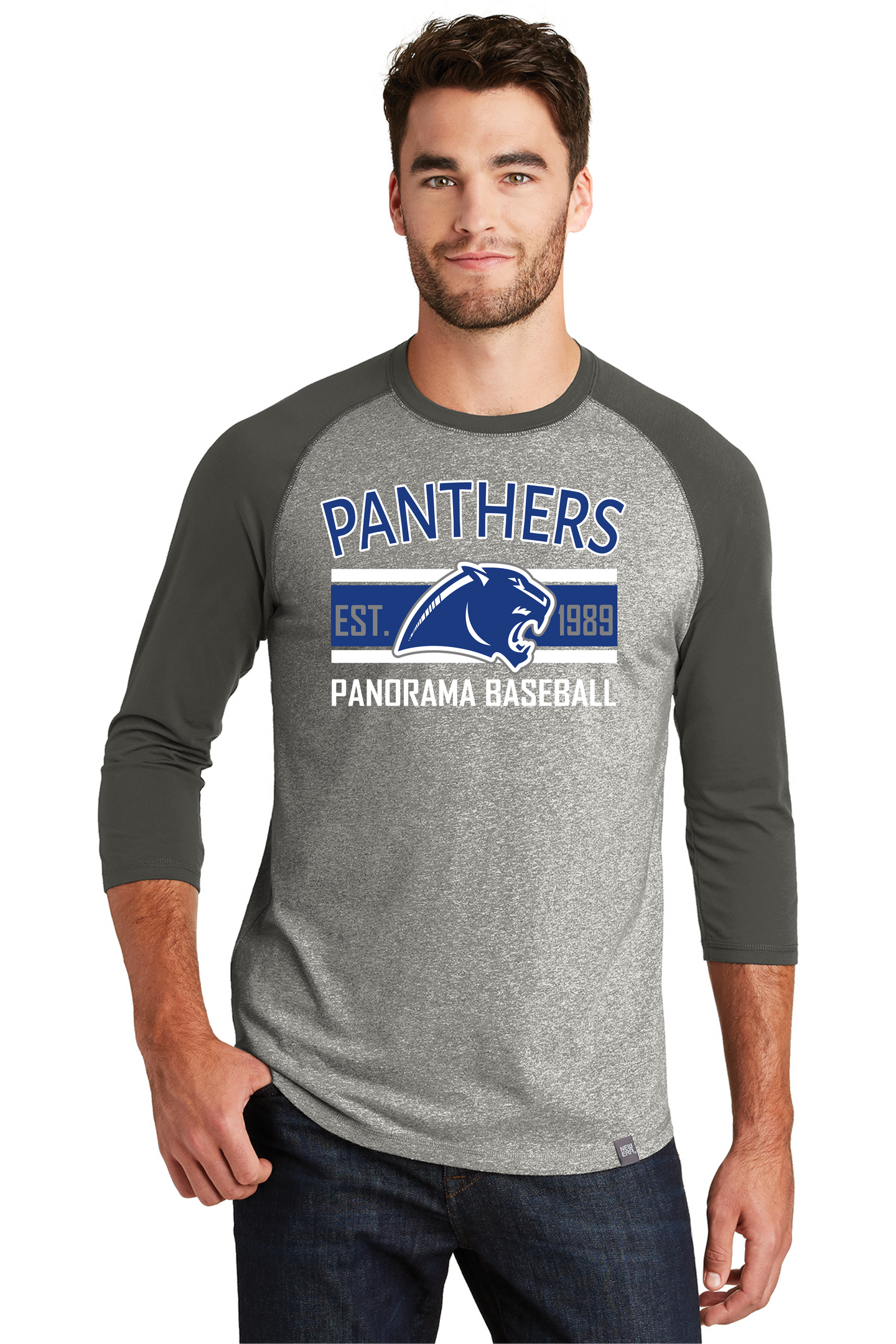 2021 PAN BB- New Era® Heritage Blend 3/4-Sleeve Baseball Raglan Tee NEA104 LIGHT TWIST GRAPHITE