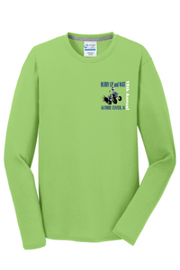 Hurry Up and Wait-- Port & Company® Long Sleeve Performance Blend Tee-PC381LS LIME